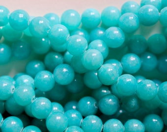 8mm candy blue Jade beads, full strand, natural stone beads, round, 80149