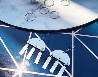 Geometric Jellyfish Circular Drop Earrings    Silver & Aluminium