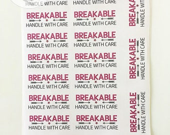 34 Breakable - Handle with Care Stickers,  Perfect for parcels, packages, letters, Small Business, Order, Labels, Stickers, Fragile