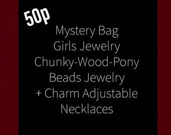 Girl Princess Dress-Up Costume Jewelry 50p. Mega Variety of types: Chunky Beads-Wooden Beads-Pony Beads-Charm Necklaces & Bracelets