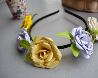 Flower Headband made from Paper Roses, Music Sheet, Daisy Yellow and White, Bridal Accessories, Partywear, Flower Girl,  Festival
