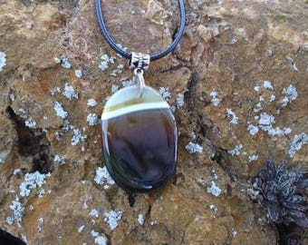 Freeform Coffee Onyx Agate necklace