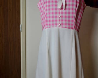 Vintage Gingham Pink And White Dress Small 50s 60s Pin Up Rockabilly
