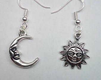 Tibetan Silver Earrings Moon and Sun Charm!!!