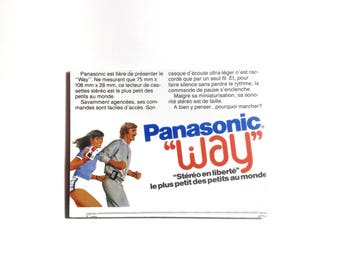 Large Fridge Magnet 'Panasonic WAY Walkman French Advertisement' Kitsch Magnet DJ Gift Music Musician Gift Jogging French Magnet No QC-19-