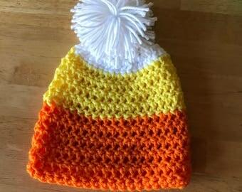 Candy corn Pom Pom hat.