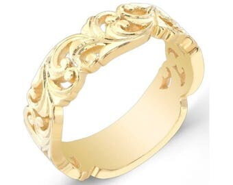 Eloquently Hand Engraved, Stackable,  14k Yellow Gold,