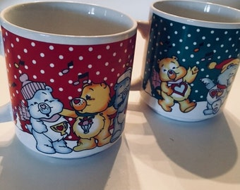 2 Carebears coffee mugs tea cups hot chocolate