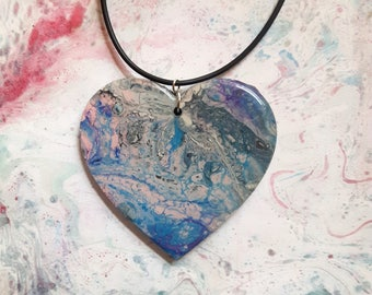 Art Pendant, Fluid Art Necklace, Wearable Art, Acrylic Art, Abstract Art, Resin Jewellery, Gift for Her, Valentines Gift, Unique Gift