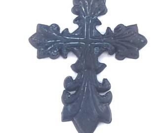 Decorative Wall Cross, Fleur De Lis, Fancy, French Cross, Ceramic Cross, France, Heraldry, Renaissance, Renaissance Faire, Medieval, Gothic,