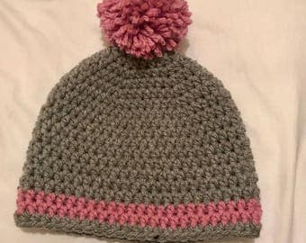 Child crochet hat - grey and pink with pom-pom