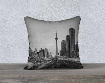 Toronto CN Tower Designer Pillow Case Cover 18x18 Home Decor Made in Canada Hipster Urban Decorative Throw Pillow