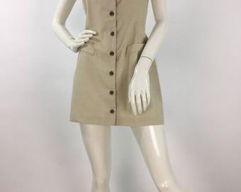 Vintage Dynamite dress, button front dress, vintage beige dress