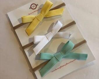 Ribbon hair bow, pig tail clips, baby bows, hair bows