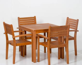Leadville Square Dining Set DTY Outdoor Living 5 Piece Eucalyptus Patio  Furniture Set With Table