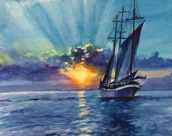 Sunset Original Watercolor Painting Boat Painting ART handmade, Seascape ,nautical ,water