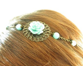 Bronze flower filigree headband turquoise blue