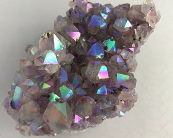 Angel Aura Amethyst Purple Rainbow Crystal Cluster