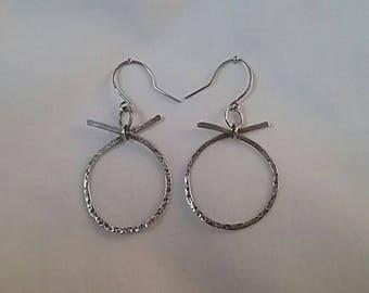 Sterling silver hammered effect Hoop  earrings.