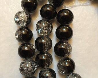 59 cracked beads 10mm round black glass