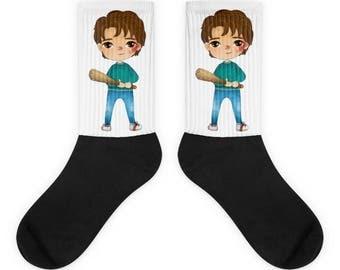 Stranger things socks, Steve Harrington socks, bat Stranger things Christmas gift, Stranger things present, Demogorgon, Demodogs hunter,