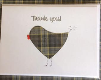 Tartan bird Thank You card