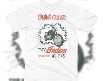 1968 Indian Scout 45 T Shirt V Power Motorcycle VINTAGE Ad Art Harley Davidson Biker Classic