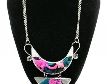 Silver necklace Miao embroidery/Miao Silver Necklace with Hand Embroidery