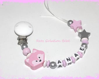 Girl Fox wood pacifier clip pink white and silver