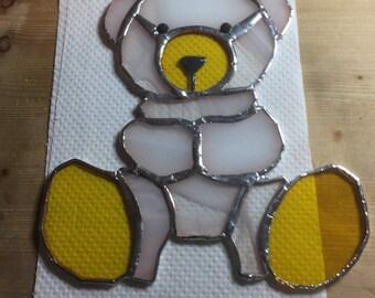 Stained glass teddy suncatcher