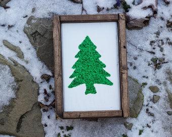 Green Glitter Christmas Tree - Christmas Decor - Christmas Decoration- Mantle Decor - Rustic Decor - Holiday Decoration