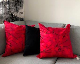 "Handmade Marimekko Fabric Cushion Cover, Red Pillow Case, Accent Pillow, Throw pillow, Accent cushion cover 20"" 50cm, Finnish Design"