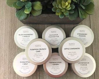 TRAVEL TIN soy wax candle soy candle AromaVela Candle Co
