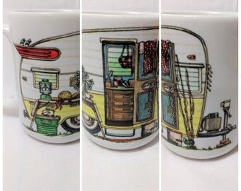 Retro Yellow Camper; Camping Ceramic 15 oz Mug