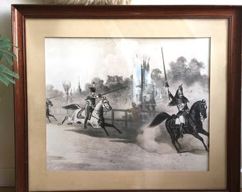 Military equestrian drawing framed
