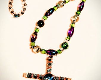 Stained Beaded Cross Necklace Handmade Jewelry