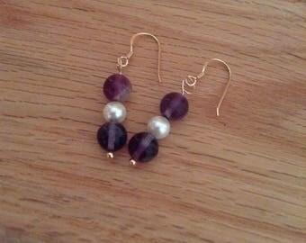Fluorite and Pearl Drop Earring