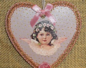 Pink heart Angel on a background and copper trim