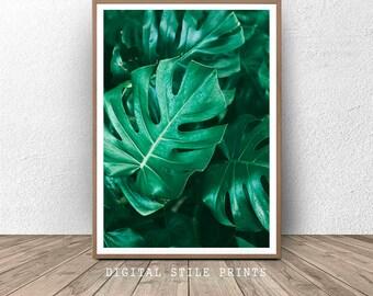 Botanical Wall Art, Monstera Print, Monstera Leaf Print, Tropical Leaf Art, Nature Poster, Monstera Wall Decor, Monstera Leaf, Home Decor
