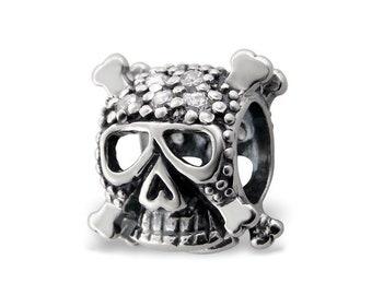 Cubic Zirconia Sterling Silver Skull Bead