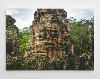 Cambodia Temple Canvas Print // Large Canvas Wrap, Asia Decor Wall Art, Bayon Buddhist Temple, Buddhism, Travel Photo, Fine Art Home Decor