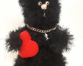 Crochet  black cat  Gift for Valentine's day  Gift for  boyfriend Gift for girlfriend Interior toy Home decor  Stuffed animals Amigurumi