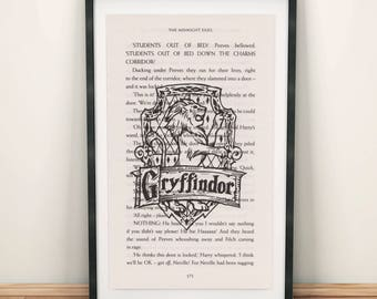 Art Print Harry Potter Gryffindor Print on Book Page from Philosopher's Stone