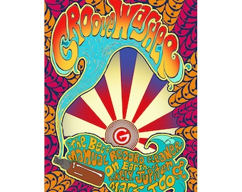 Psychedelic Art Posters, Groove Washer Original Posters, groovy wall art