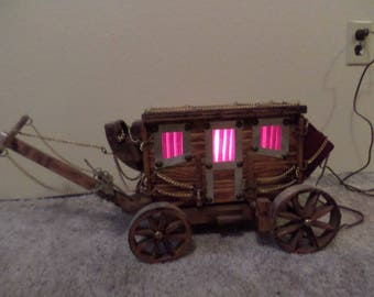 Vintage Western Wooden Stagecoach Table Lamp or Night Light