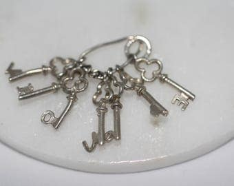 Sterling Silver Charm - Bunch of Keys, Letters, did spell 'I LOVE YOU'. collectable, vintage charms, pendant, charm bracelet.