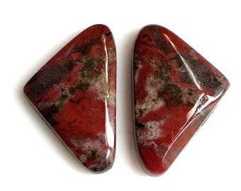 Blood Stone,Fancy Pair, Cabochon, Size-23X14 MM Natural, Blood Stone, AAA, Quality,Loose Gemstone, Smooth Cabochons.