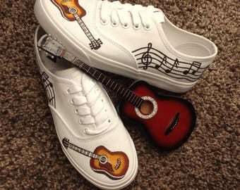 Handpainted shoes (guitar and musical notes)