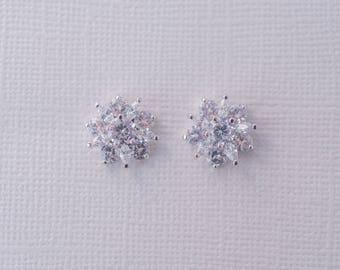 Flower Cubic Zirconia Earrings, Silver Stud Earrings, Bridesmaid CZ Earrings, Bridal Accessories, Wedding Jewellery, Bridal Jewelry, Crystal