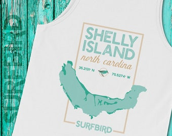 Shelly Island NC map tank top • Shelly Island North Carolina • Cape Hatteras Outer Banks shirt